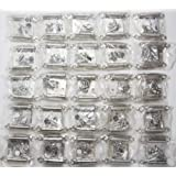 Lot of 25 Pairs (50pcs) Self Closing OVERLAY Flush Cabinet Hinges - Satin Nickel