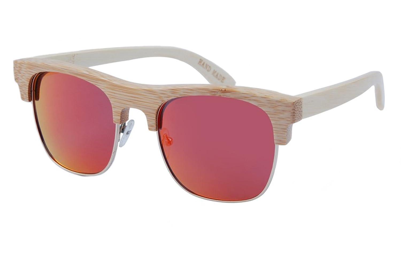 FENGJI Half Frame Spring Metal Hinge Polarized Lens Wood Bamboo Sunglasses