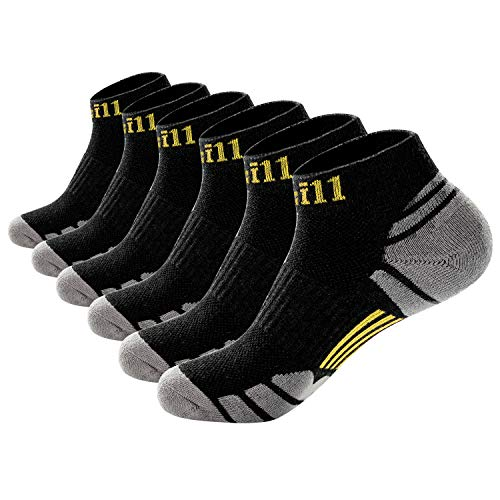 Cotill Men's Performance Ankle Athletic Running Socks Breathable Comfort Low Cut Cushioned Tab Socks(6 Pack) (Black Yellow (6 Pairs))