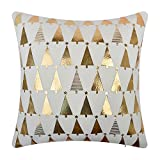 JWH JW Christmas Trees Accent Pillow Cases Decorative Cushion Covers Single Side Plush Pillowcases Home Sofa Car Bed Room Office Chair Decor Gold Foil Print 18 x 18 Inch