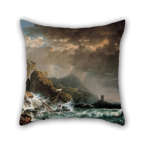 pillow shams 16 x 16 inches / 40 by 40 cm(each side) nice choice for car seat,dining room,chair,bf,teens,deck chair oil painting Carlo Bonavia - Shipwreck in a Rocky (Custom Costumes In Edmonton)