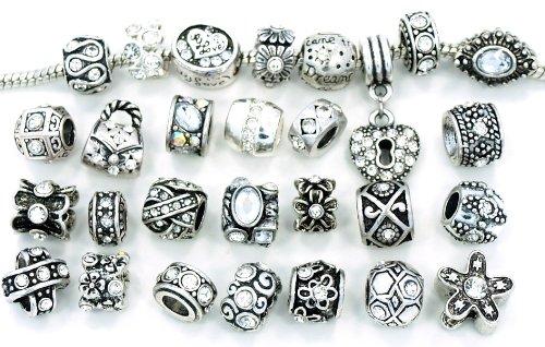 Ten Assorted Clear Crystal Rhinestone Bead Charms Buy