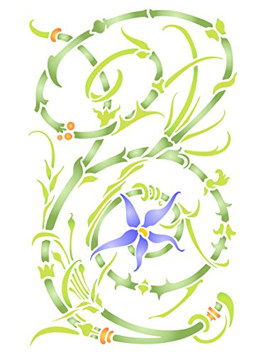 Flower Panel Stencil - 10 x 16 inch (L) - Reusable Floral Flowers Flora Plants Wall Stencil Template - Use on Paper Projects Scrapbook Bullet Journal Walls Floors Fabric Furniture Glass Wood etc.