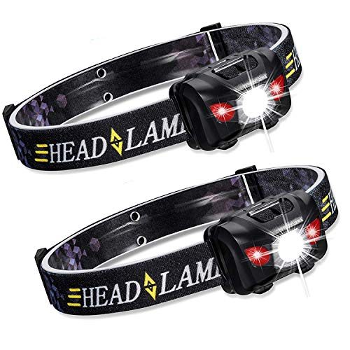 Zukvye LED Headlamp, Ultra Bright 160 Lumens White & Red LEDs, Waterproof Head Light for Running, Camping, Reading & More - batteries included (2 Pack)
