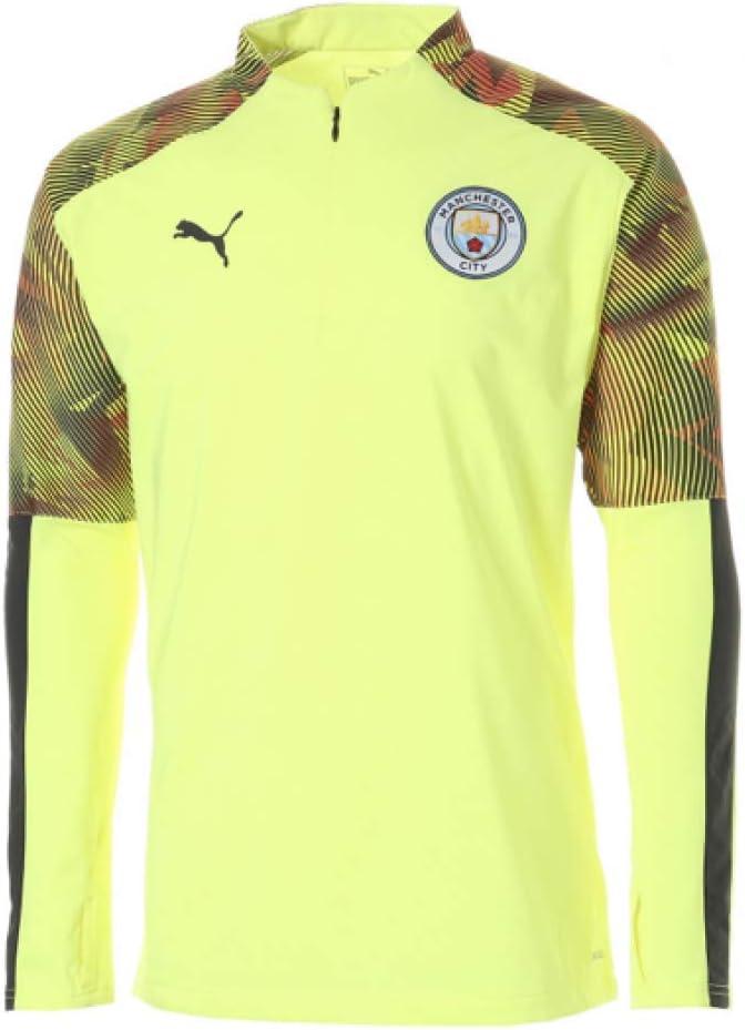 PUMA 2019-2020 Manchester City Half Zip Training Top (Yellow ...