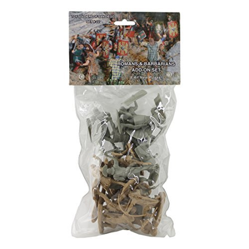 TSSD ANCIENT Roman & Barbarian Soldiers: 16 GRAY & TAN 1:30 Plastic Figures by Toy Soldiers of San - San Tan Stores