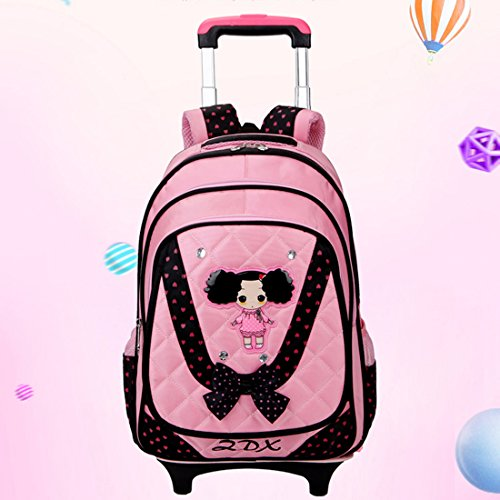 HIGOGOGO Girls Rolling Backpack Removable Cute Princess B...