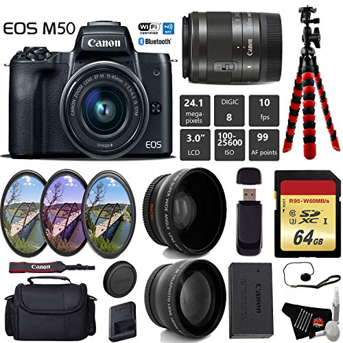 Canon EOS M50 Mirrorless Digital Camera with 15-45mm Lens + UV FLD CPL Filter Kit + Wide Angle & Telephoto Lens + Camera Case + Tripod + Card Reader - International Version