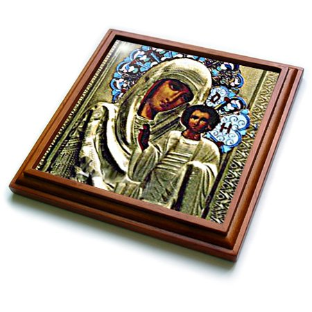 (3dRose trv_525_1 Russian Icon of The Blessed Mary Trivet with Ceramic Tile, 8 by 8