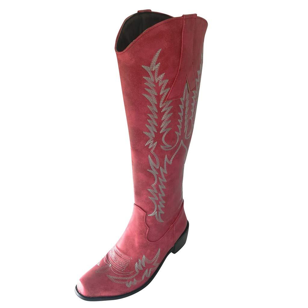 AmazingDays Women's Western Heel Pointed Toe Knee High Ancient Custom Ankle Knee Side Zip Boots Casual Long Booties by AmazingDays
