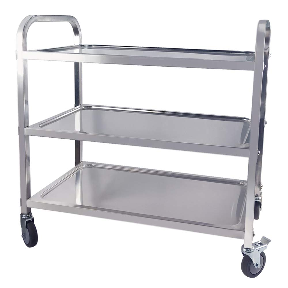 TAIMIKO Utility Cart, Stainless Steel 3-Shelf Kitchen Trolley for Restaurant Catering Kitchen Up to 300 lbs Capacity, Stainless Steel Carts Four Sizes for Your Choose (L29.5W15.7H32.9'') by TAIMIKO