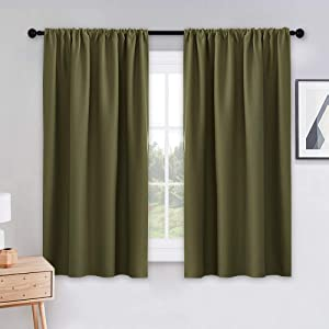PONY DANCE Blackout Thermal Curtains - 42 inches Width by 54 inches Length, Olive Green Window Draperies Light Block Energy Efficient for Kitchen Dining Room Modern Design, Double Panels