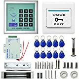 Olymstore Danmini RFID Door Entry Access Control system Kit Set including 180kg 400LB Electric Magnetic Lock & 12v DC 3A Power Supply & Proximity Door Entry keypad & 10 Key Fobs & Door Switch