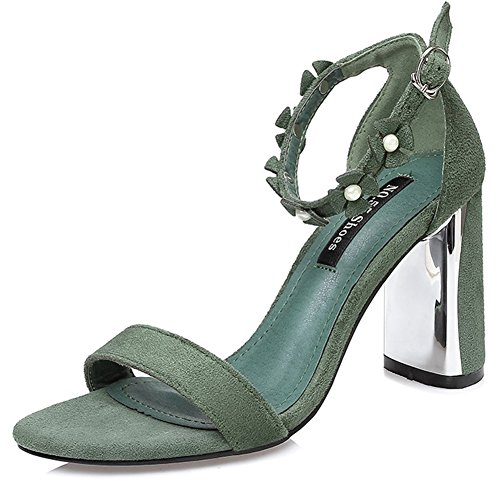 Aisun Women's Elegant Faux Suede Studded Flowers Open Toe Buckle Ankle Strap High Block Heel Sandals Green 9Mxx6aGVS