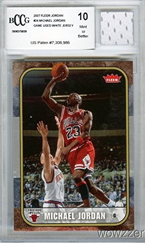 2007 Fleer Michael Jordan with Piece of Authentic Michael Jordan Chicago Bulls Game Used Home Jersey Graded BGS Beckett 10 MINT GGUM Card! Jordan Card in 1986 Fleer Rookie Design - Jordan Michael Jersey Authentic