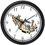 Map of Mexico with Icons - Mexico or Mexican Theme Wall Clock by WatchBuddy Timepieces (White Frame)