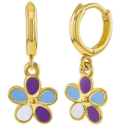 18k Gold Plated Enamel Dangle Flower Girls Hoop Earrings Kids 0.39