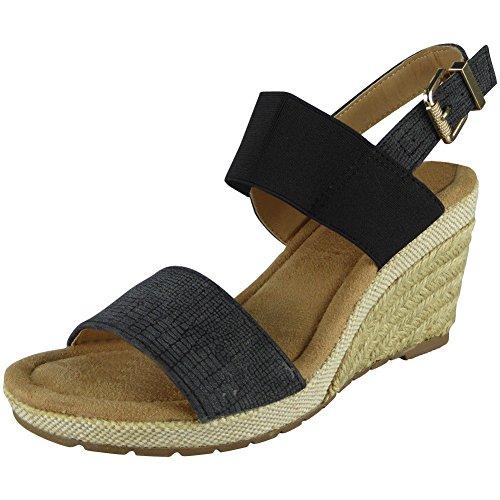 LoudLook Womens Slingback Wedges Ladies Espadrilles Comfy High Heel Buckle Shoes Size 4-8 Black