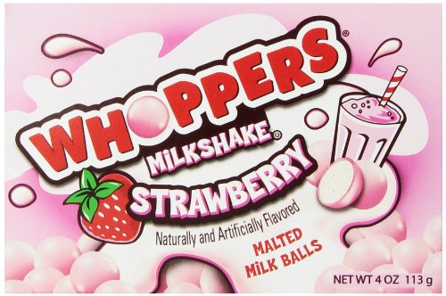 WHOPPERS MILKSHAKE Strawberry Candy (Malted Milk Candy Balls), 4 Ounce Box, (Pack of 12)