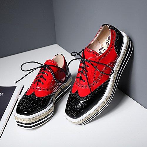 Roseg Mujer De Rojo Vestir Zapatos Brogues rYIqr