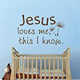 Bible Verse Jesus Loves Me This I Know Christian Wall Quote Family Love Saying Bedroom Headboard Art Sticker(Large,Black)