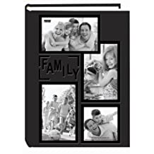 "Pioneer Photo Albums Collage Frame Embossed ""Family"" Sewn Leatherette Cover 300 Pocket Photo Album, Black"