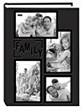 Pioneer Collage Frame Embossed 'Family' Sewn Leatherette Cover 300 Pocket Photo Album, Black