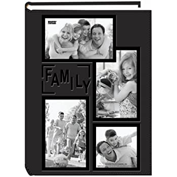 """Pioneer Collage Frame Embossed """"Family"""" Sewn Leatherette Cover 300 Pocket Photo Album, Black"""