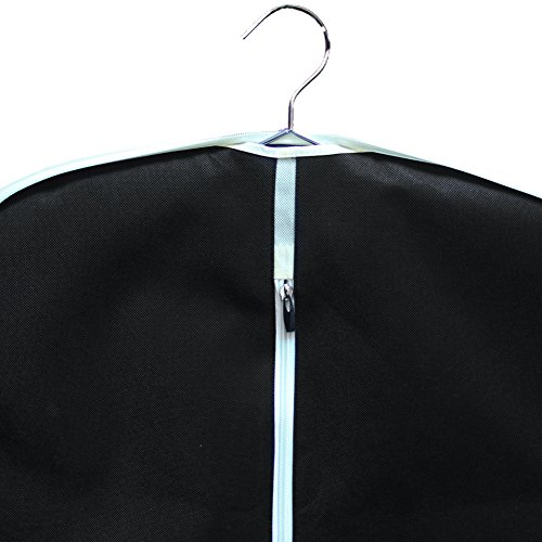MISSLO Suit Garment Bag for Travel 42'' Zippered Clothes Cover (3 Packs, Black) by MISSLO (Image #5)