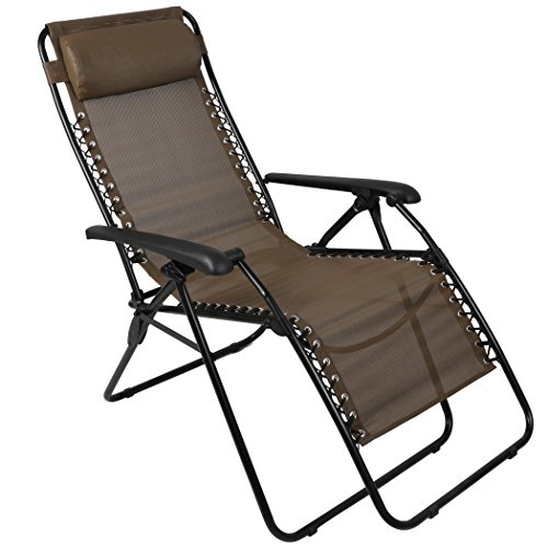 Anti Gravity Chair (PORTAL Zero Gravity Outdoor Lounger With Adjustable Pillow, Brown)
