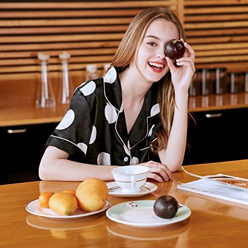 Pijamas Sección Las Hogar De Corta Impresa Ropa Mujer Camisón Cardigan Sexy Verano Manga El Home Cuello Mon5f Delgada Para Camisa size Mujeres Xl Casual 5w18Ifx