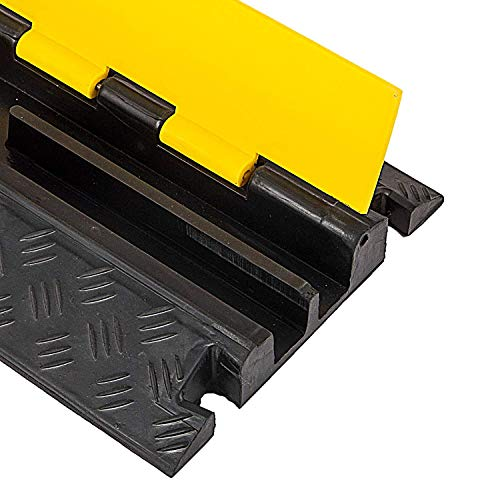BestEquip 5 Pack Rubber Cable Protector Ramp 2 Channel Heavy Duty 66,000LB Load Capacity Cable Wire Cord Cover Ramp Speed Bump Driveway Hose Cable Ramp Protective Cover by BestEquip (Image #5)