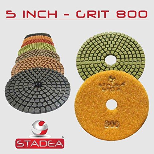 """STADEA Premium Grade Wet 5"""" Diamond Polishing Pads 8 Pcs Set For GRANITE MARBLE STONE Polish"""