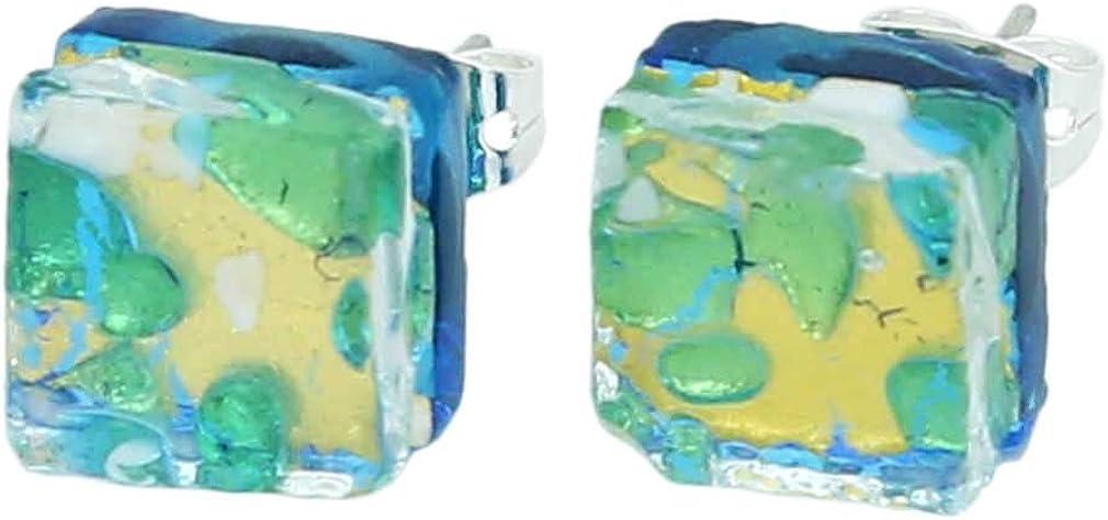 GlassOfVenice - Pendientes de cristal de Murano con reflejos venecianos cuadrados, color dorado