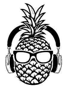 Amazon.com: RUKI Pineapple Headphones Music Wall Decal ...