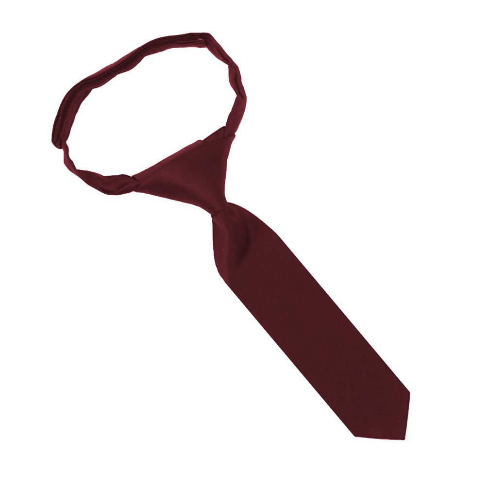 Jacob Alexander Infant's Toddler's 8'' Pretied Ready Made Solid Color Hook and Loop Band Tie - Burgundy