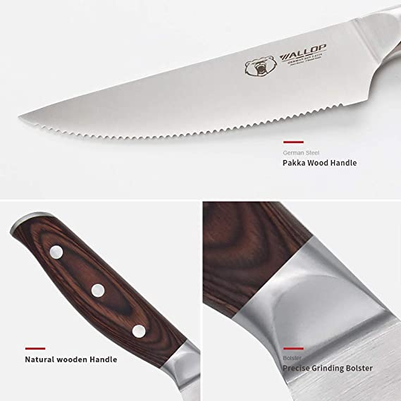 Amazon.com: Juego de cuchillos para carne (4 unidades ...