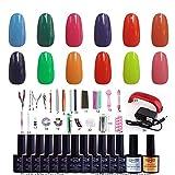 NDDN - Gel Nail Polish Kit With UV Light Nail Art Tools Box Gel Polish Light Color Gel Base And Top Coat UV #12G-011