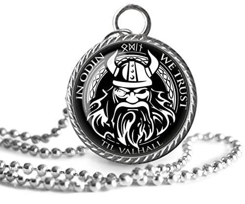 925 Sterling Silver Norse Odin Wolf Pendant necklace with cow leather and keel chain and vintage Viking Jewelry Box as gift