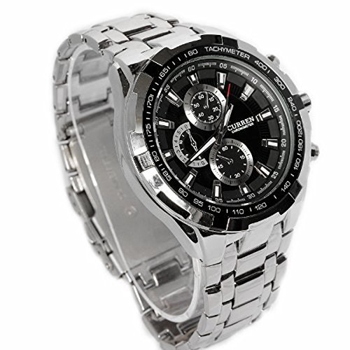 Amazon.com: ShoppeWatch Relojes De Hombre Mens Wrist Watch Silver Tone Bracelet Large Face Black Dial CR8023SLBK: Watches