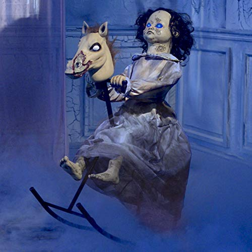 Animated Rocking Horse Girl Halloween Decoration and Prop, 32 1/4