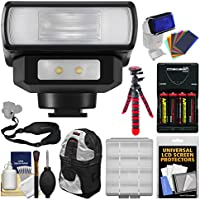 Panasonic DMW-FL200L Wireless Flash with LED Light with Batteries + Charger + Backpack + Flex Tripod + Sling Strap + Color Gels + Kit