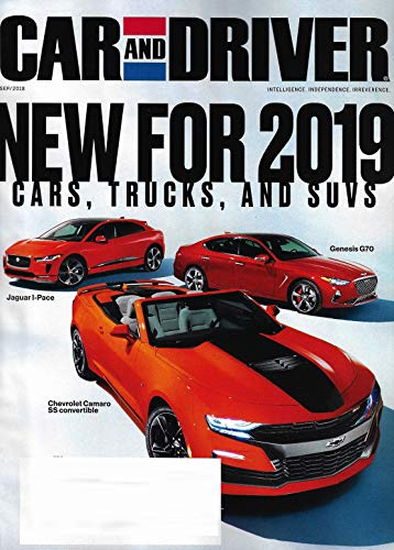 CAR AND DRIVER Magazine September 2018 NEW CARS, TRUCKS, & SUV'S for 2019, Genesis G70, Jaguar I-Pace, Chevy Camaro SS Covertable