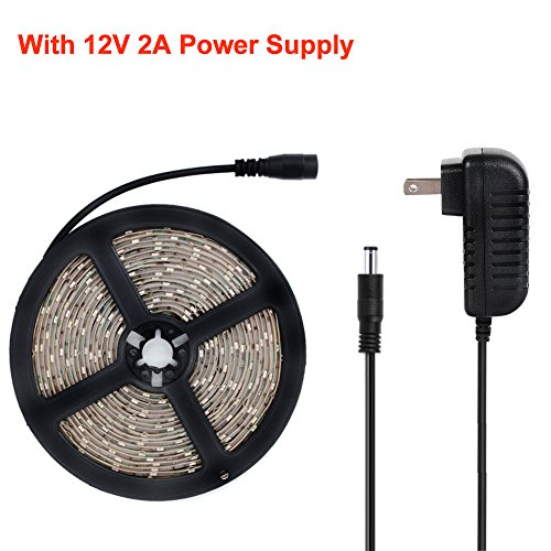 YGS-Tech 24 Watts UV Black Light LED Strip, 16.4FT/5M 3528 300LEDs 395nm-405nm Waterproof IP65 Blacklight Night Fishing Sterilization implicitly Party with 12V 2A Power Supply by YGS-Tech (Image #2)