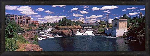 Howard Street Bridge over Spokane Falls, Spokane, Washington State, USA by Panoramic Images Framed Art Print Wall Picture, Espresso Brown Frame, 37 x 14 (Spokane Washington Usa Framed)