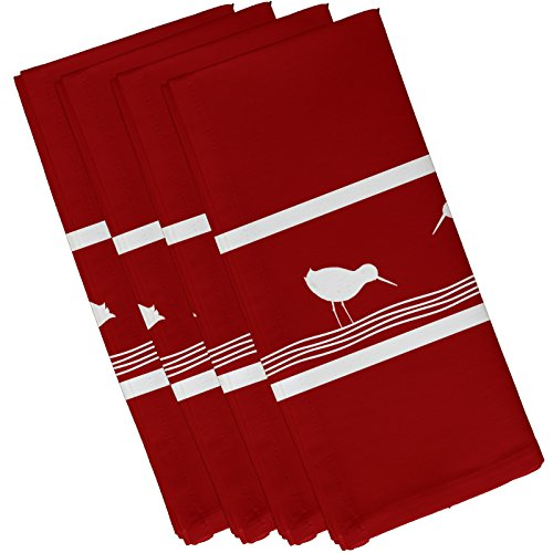 E by design Birdwalk, Animal Print Napkin, 19 x 19'', Red by E by design
