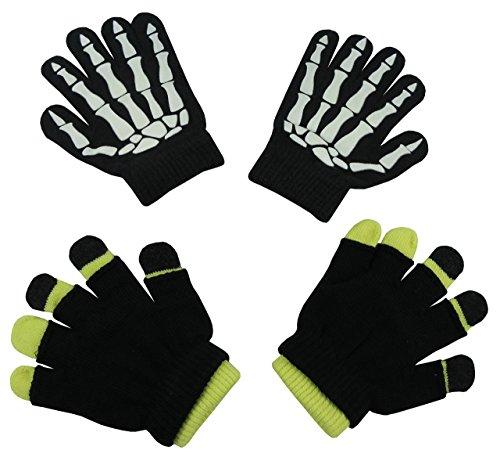 N'Ice Caps Boys Glow in the Dark Magic Stretch Gloves 2 Pair Pack (3-6 Years, Skeleton Glows/Neon (6 Pair Pack Navy Accessories)