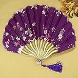 Purple Summer Style Folding Hand Held Fan Fabric Floral Wedding Dance Favor Pocket Fan 1Pcs