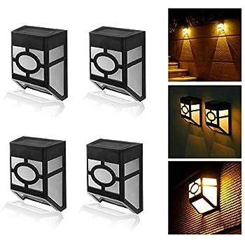 MIYOLE Pack of 4 Warm White LED Solar Lights Outdoor Waterproof Garden Lamp Accent Light Yard Gutter Wall Lantern
