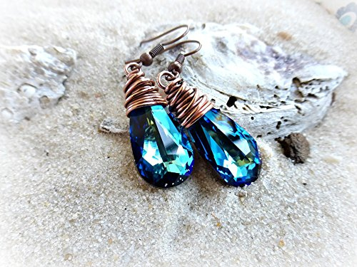 Swarovski Copper Pendant - Bermuda Blue Swarovski® Crystal pendants with copper wire wrapping earrings. Medium size earrings. Boho, Bohemian, Wedding, Bridal, Victorian. Handmade jewelry, jewellery. Fashion, Accessories.